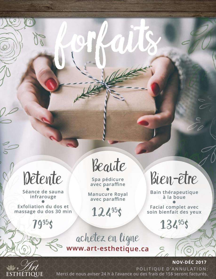 Forfaits cadeaux des Fêtes 2017